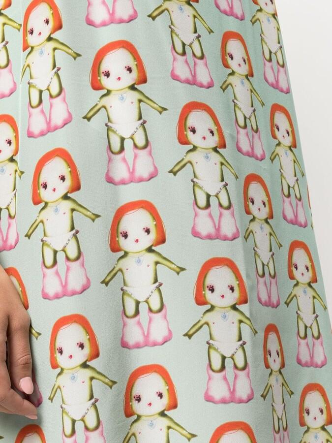 Thumbnail for your product : Sandy Liang Banks Margot-print slip dress