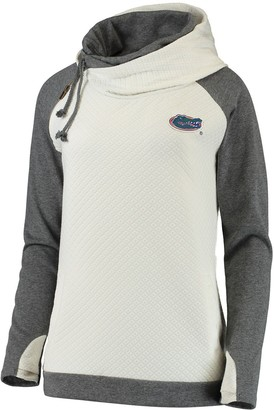 Unbranded Women's Cream/Charcoal Florida Gators More Chill Layered Quilted Jacquard Pullover Hooded Sweatshirt