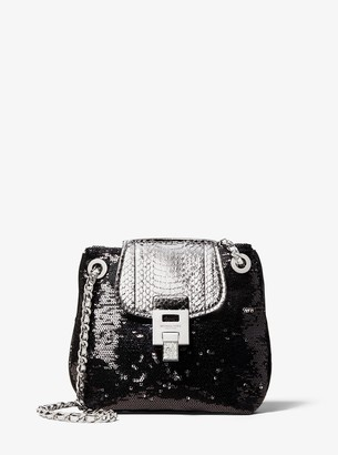 Michael Kors Bancroft Sequin and Snakeskin Disco Pouch