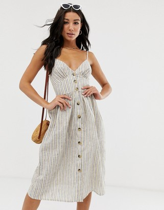Influence button down cami strap sun dress in stripe-Grey