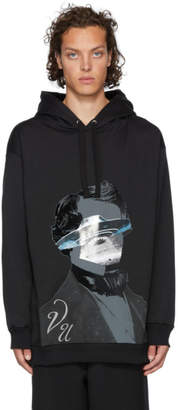 Valentino Black Undercover Edition V Face UFO Print Hoodie