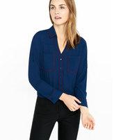 Express original fit berry contrast piped portofino shirt