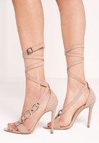 Missguided Wrap Strap Trim Detail Sandal Nude