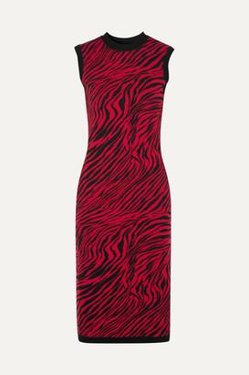 McQ Zebra-print Cotton Midi Dress - Red