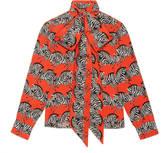 Gucci Zebra print neck bow shirt