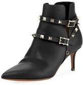 Valentino Rockstud Leather Ankle Bootie, Black (Nero)