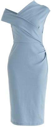 Paisie Dove Wrap Dress In Light Blue