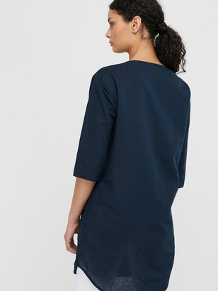 Monsoon Scarlet Organic Cotton Linen Tunic Dress - Navy
