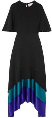 Roksanda Asymmetric Satin-paneled Color-block Silk-crepe Maxi Dress