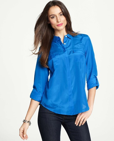 Ann Taylor Tall Silk Cotton Camp Shirt