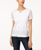 Alfred Dunner Long Weekend Embellished Contrast Top
