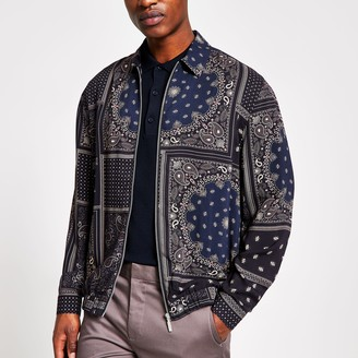 River Island Mens Navy bandana print zip through overshirt