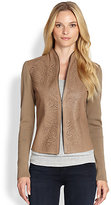 Elie Tahari Shira Laser-Cut Leather-Paneled Wool Jacket