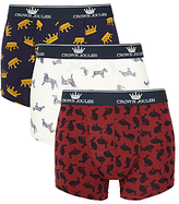 Joules Crown Joules Top Dog Trunks, Pack Of 3, Navy/burgundy/white