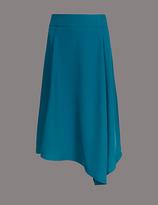 Autograph Asymmetrical Hem A-Line Midi Skirt