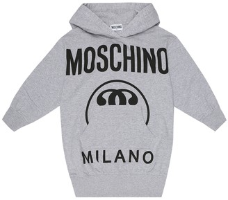 MOSCHINO BAMBINO Logo cotton-fleece hoodie dress