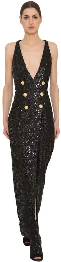 Balmain Sequins Long Dress