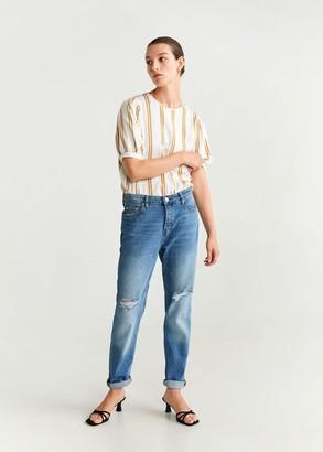 MANGO Striped blouse white - 2 - Women
