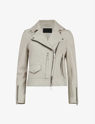 AllSaints Kara leather cropped biker jacket
