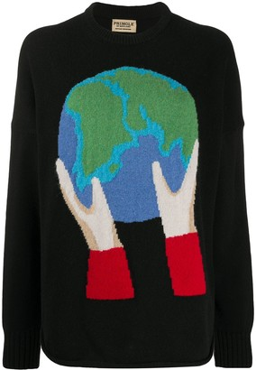 Pringle Globe recycled long sleeve jumper