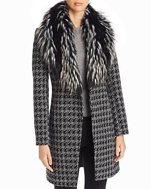 Via Spiga Faux Fur-Collar Houndstooth Reefer Coat