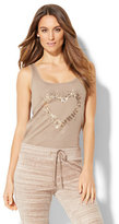 New York & Co. Silver Sequin Heart Tank Top