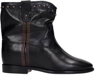 Isabel Marant Cluster Low Heels Ankle Boots In Black Leather