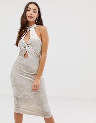 Girl In Mind twist front velvet dress-Silver
