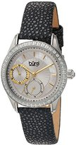 Burgi Women's Multi-Function Mother-of-Pearl Dial with Crystal Accented Bezel and Silver-Tone Case on Black Genuine Textured Leather Strap Watch BUR160BK