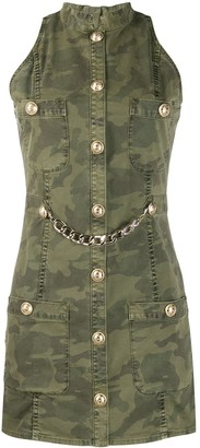 Balmain Sleeveless Camouflage Print Denim Dress