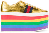 Gucci Rainbow Sole Lace-Up Flatform Trainers