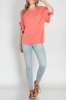 She + Sky Coral Open Sleeve Top