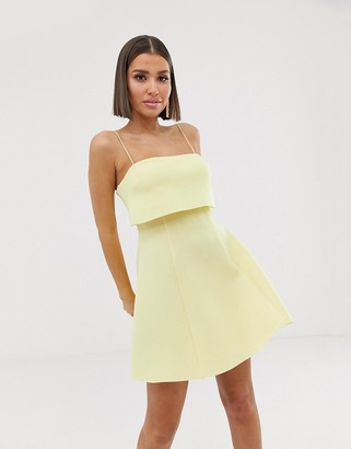Asos Design DESIGN crop top scuba skater mini dress-Yellow