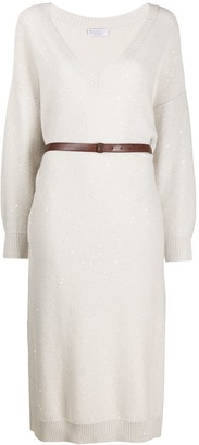 Brunello Cucinelli Sequin-Embroidered Knit Dress