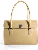 Lambertson Truex Beige Leather Keylock Flap Structured 2 Handle Satchel Handbag