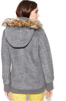 Rachel Roy Hooded Faux-Fur-Trim Textured Toggle-Front Coat