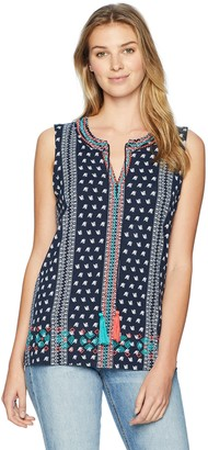 Tribal Women's Sleeveless Top with Embroidery Detail