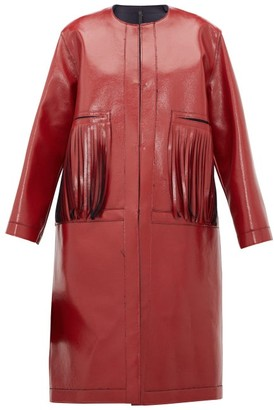 Sara Lanzi Fringed Coated Wool-blend Coat - Red