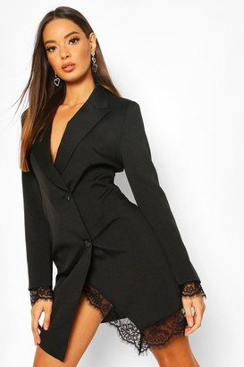 boohoo Lace Hem Blazer Dress