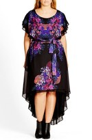 City Chic Plus Size Women's 'Dream Catcher' Belted Floral Print High/low Dress