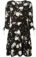 Dorothy Perkins Womens Black Floral Fit and Flare Dress