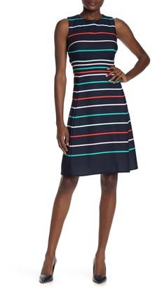 Sandra Darren Striped Sleeveless Fit & Flare Dress