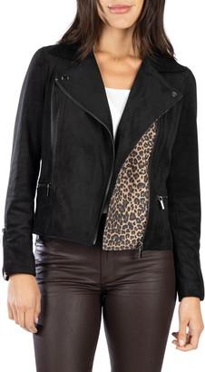 KUT from the Kloth Jayden Leopard Print Faux Suede Moto Jacket