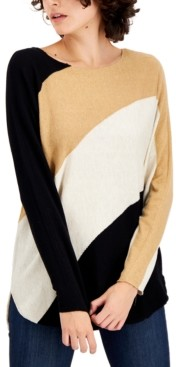 INC International Concepts Inc Plus Size Colorblocked Shirttail-Hem Sweater, Created for Macy's