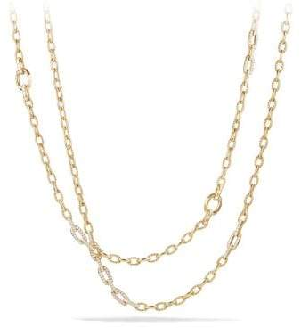 David Yurman Stax Convertible Chain Necklace With Diamonds In 18K Gold