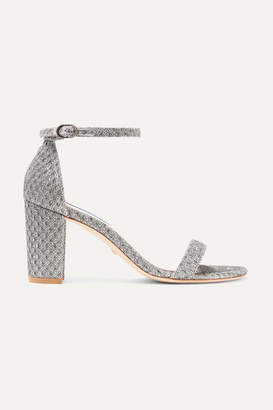 Stuart Weitzman Nearlynude Metallic Jacquard Sandals - Silver