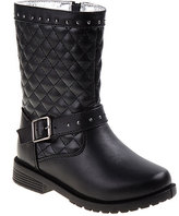 Josmo Black Studded-Strap Quilted Boot