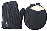 Honla Silicone Striped Pot Holders and Oven Mitts/Gloves-Quilted Cotton&Terry Cloth Lining,4-Piece Heat Resistant Kitchen Linens Set for Grilling,BBQ,Baking,Cooking-2 Hot Pads and 2 Potholders,Black