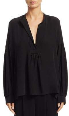 Vince Shirred Silk Blouse