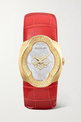 Buccellati Opera 28mm 18-karat Gold, Alligator And Mother-of-pearl Watch - Red